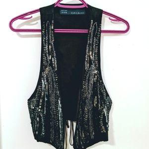 💎ZARA - Little Black Vest With Glitter